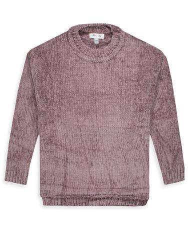 Maroon Chenille Knit Sweater Top - Front DUSTY MAUVE