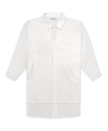 Suzy D Oversized Button Back Tunic - Front WHITE