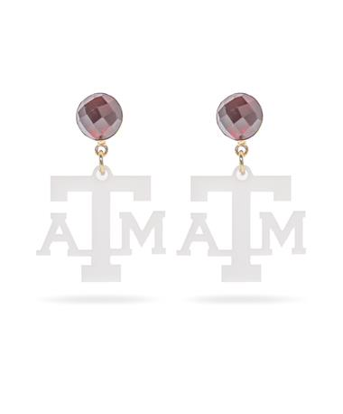 Texas A&M Mini Logo White Earrings with Garnet Stud - front White