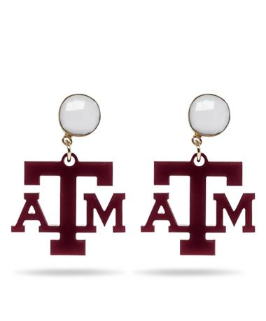 Texas A&M Mini Acrylic Maroon Earrings with White Agate Gemstone