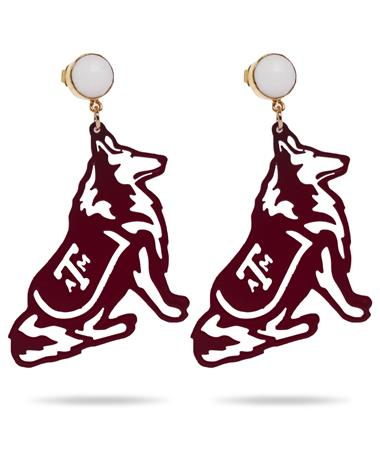 Texas A&M Maroon Reveille with White Agate Gemstone