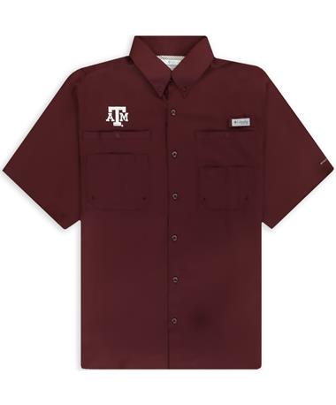 Texas A&M Columbia Tamiami Short Sleeve Maroon Fishing Shirt
