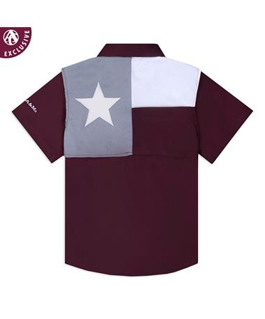 Texas A&M Aggie Infant Flag Fishing Shirt Maroon
