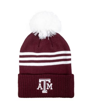 Texas A&M 3-Stripe Cuffed Pom Beanie