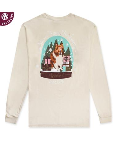 Texas A&M Reveille Snow Globe Long Sleeve T-Shirt - Back C6014 IVORY