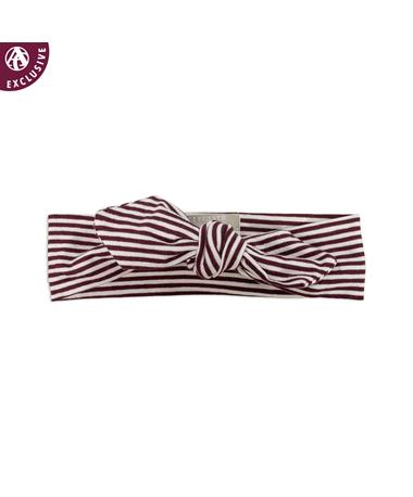 Maroon & White Striped Tied Bow Headband