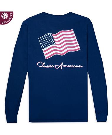 Texas A&M Classic American Flag Long Sleeve T-Shirt - Back CC NAVY LS