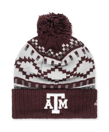 Texas A&M Adidas Pattern Beanie Maroon/ Grey