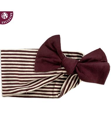 Maroon & White Striped Headband With Maroon Bow