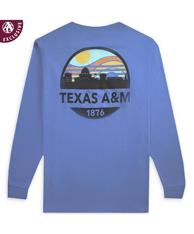 Texas A&M Sunset Skyline Long Sleeve AH Blue Jean LS