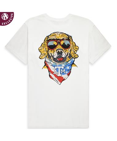 Texas A&M Bandana Cruisin` Dog T-Shirt - Back C1717 WHITE POC