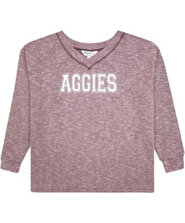 Texas A&M Aggies V-Neck Ribbed Long Sleeve