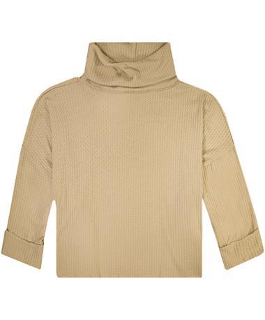 Oatmeal Maya Waffle Long Sleeve Sweater