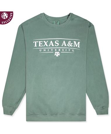 Texas A&M Pinstripe University Crewneck Sweatshirt - Front 1566 Blue Spruce
