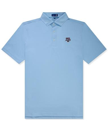 Texas A&M Solid Oxford ATM Polo Stitch Blue