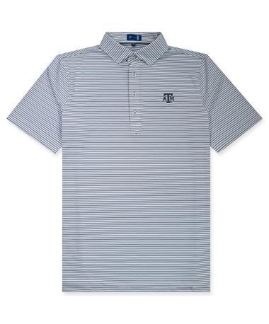 Texas A&M Bamford Stripe ATM Polo Navy/ White