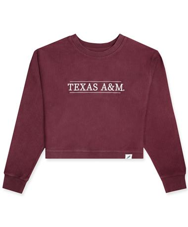 Texas A&M League Timber Cord Embroidered Crop Sweater - Maroon - Front Maroon