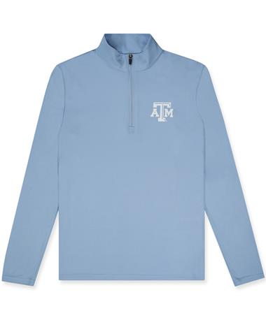 Texas A&M League Lightweight Caribbean Blue Quarter Zip - Front Carribean
