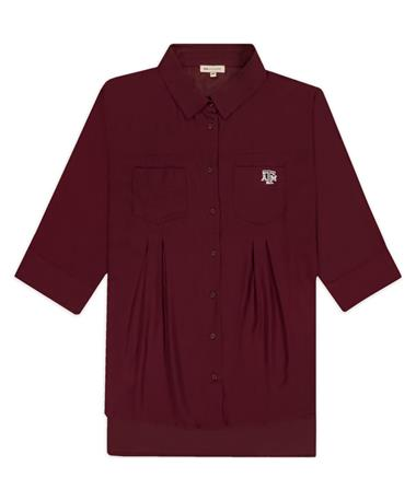 Texas A&M Pleat Button Up