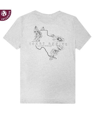 Texas A&M Black & White Floral T-Shirt