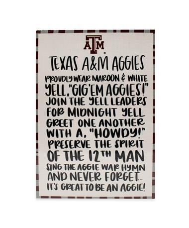 Texas A&M Aggies Fan Wooden Block