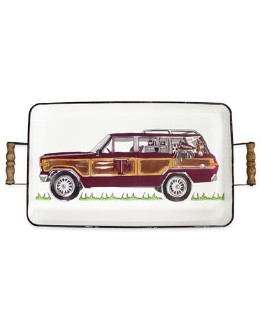 Texas A&M Wagoneer Enamel Serving Tray White