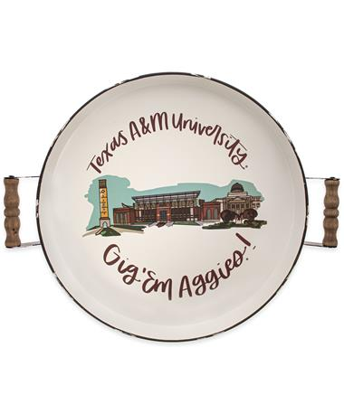 Texas A&M Landmark Enamel Serving Tray