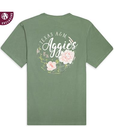 Texas A&M Aggies Floral 1876 T-Shirt - Back C1717 Moss