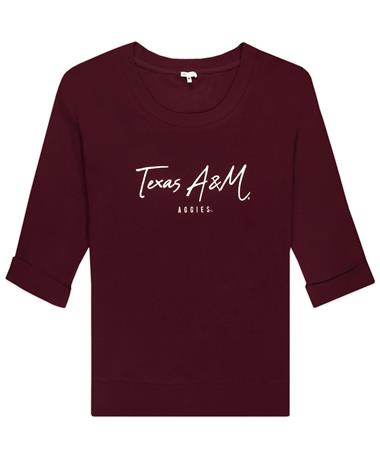 Texas A&M Waffle Blouse Top