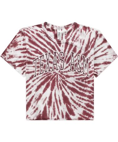 Texas A&M Maroon Tie Dye Rave Crop Top