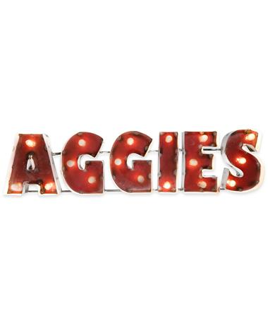 Block Aggies Metal Sign with Lights