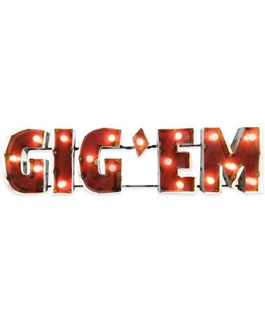 Block Gig 'Em Metal Sign with Lights