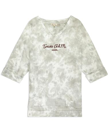 Texas A&M Tie Dye 3/4 Sleeve Top