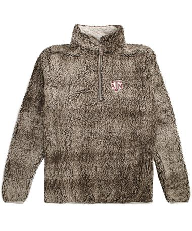 Texas A&M 1/4 Zip Heathered Smoke Sherpa Pullover Smoke Brown