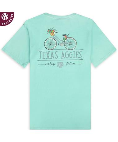 Texas A&M Aggies Floral Bike T-Shirt - Chalky Mint - Back C1717 Chalky Mint