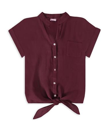 Maroon Suzy D Front Button Tie Top