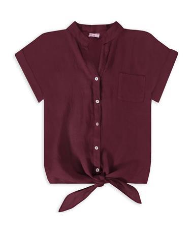 Maroon Suzy D Front Button Tie Top