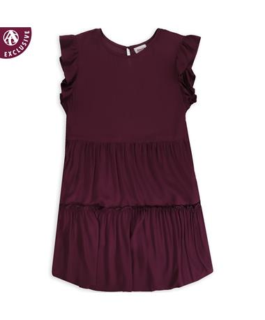 Maroon Three Tiered Dress
