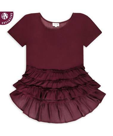Maroon High Low Ruffle Top