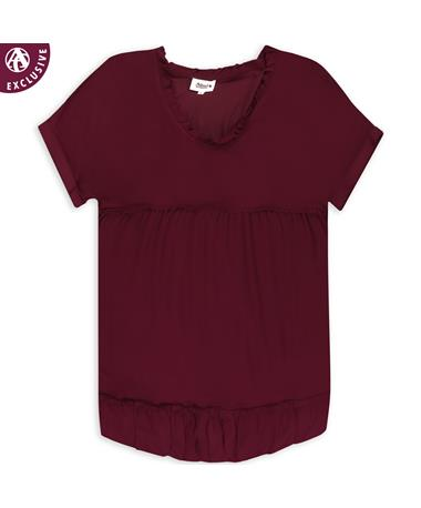 Maroon Raw Edge Babydoll Dress