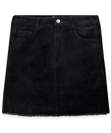Black Raw Edge Skirt