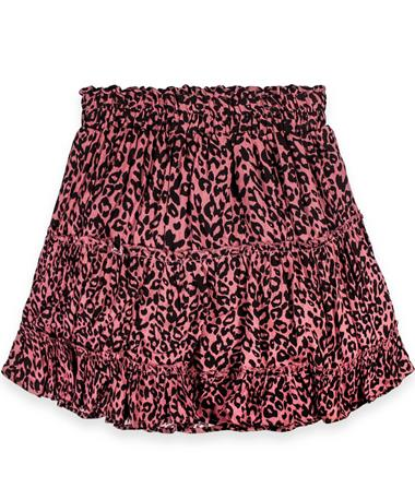 Patterned Leopard Print Mulberry Tiered Skirt
