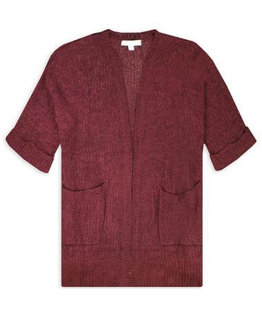 Maroon 3/4 Sleeve Open Knit Cardigan