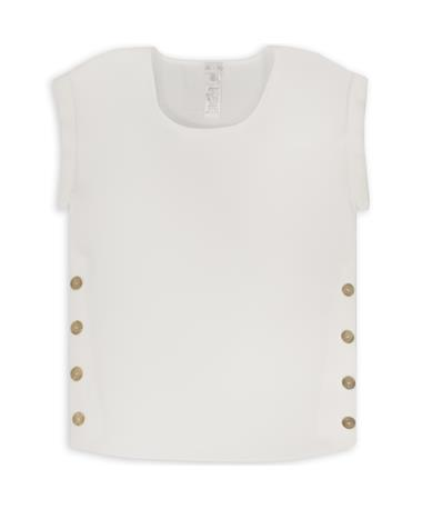 Drop Shoulder Woven Top With Buttons