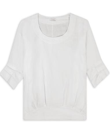 Linen Ruffle 3/4 Sleeve Top