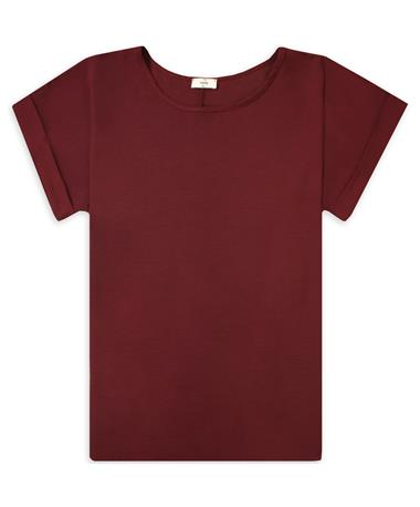 Maroon Women`s Off The Shoulder Top - Front BURGUNDY
