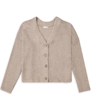 Women`s Button Coat Sweater - Front LATTE