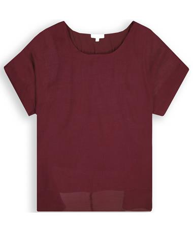 Maroon Dolman Sleeve Plus Size Sheer Top - Front MAROON