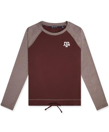 Texas A&M Cutter & Buck Ladies Hybrid Pullover - Maroon - Front Maroon