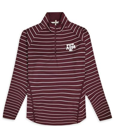 Texas A&M Cutter & Buck Ladies Evie Quarter Zip - Maroon/ White - Front Maroon/ White